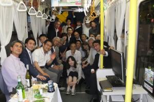 電車内での集合写真